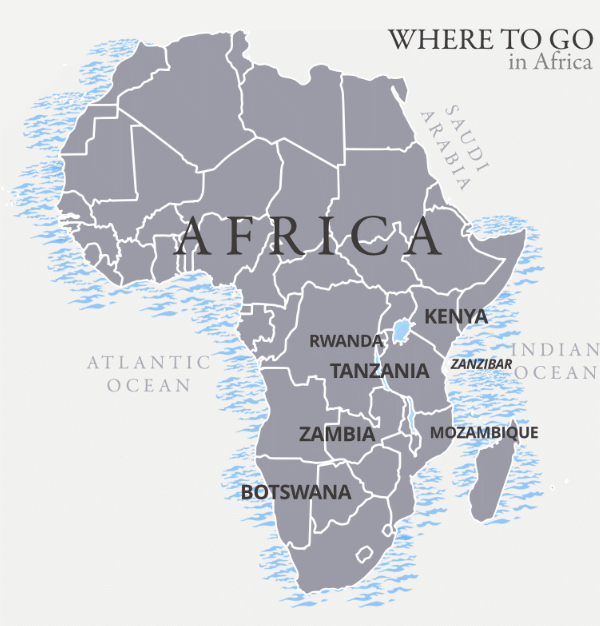 Where to go in Africa map