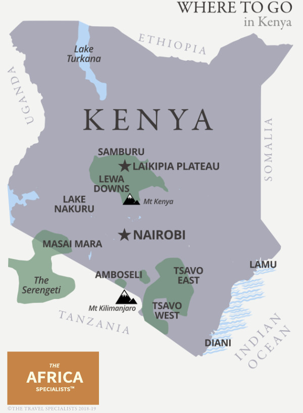 Where to go in Kenya map